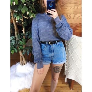 🌿 Vintage Woven Blue + Gold Spring Knit Sweater